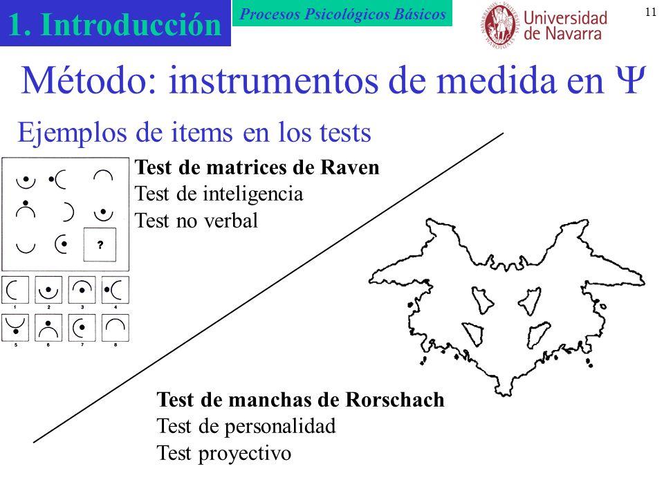Método: instrumentos de medida en  Ejemplos de items en los tests