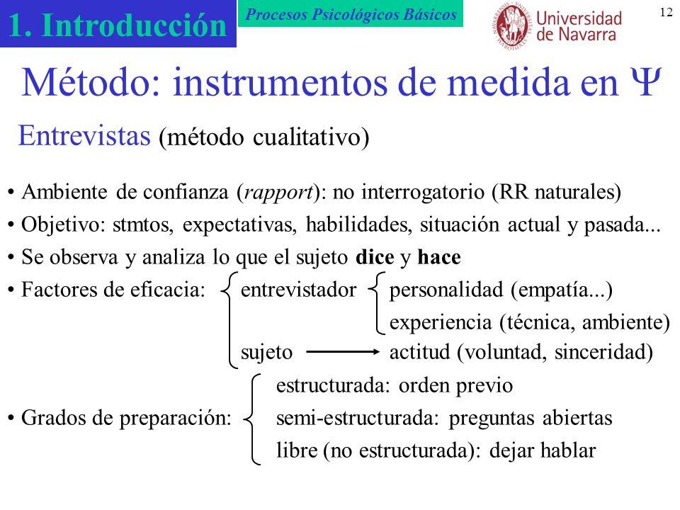 Método: instrumentos de medida en  Entrevistas (método cualitativo)