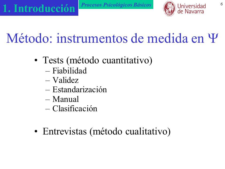 Método: instrumentos de medida en 