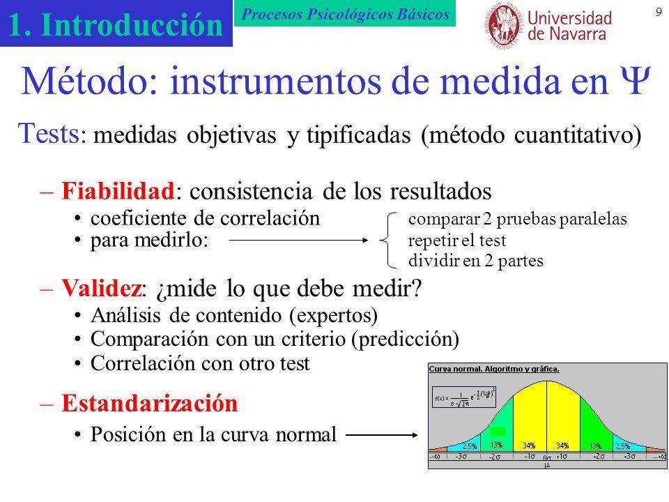 Método: instrumentos de medida en  Tests: medidas objetivas y tipificadas (método cuantitativo)