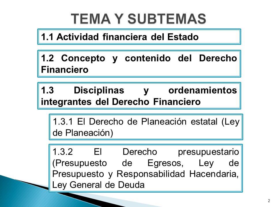 TEMA Y SUBTEMAS 1.1 Actividad financiera del Estado