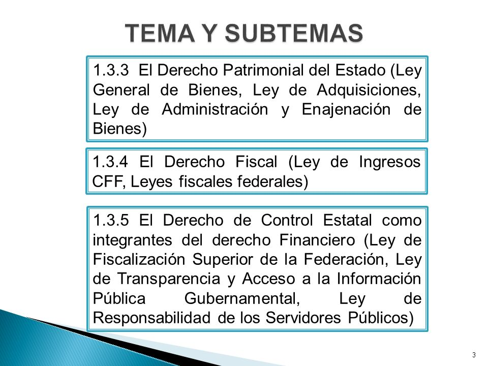 TEMA Y SUBTEMAS 1.3.3 El Derecho Patrimonial del Estado (Ley General de Bienes, Ley de Adquisiciones, Ley de Administración y Enajenación de Bienes)