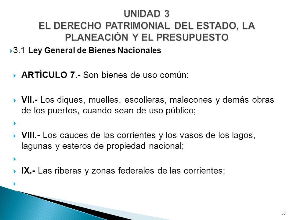 UNIDAD 3 EL DERECHO PATRIMONIAL DEL ESTADO, LA PLANEACIÓN Y EL PRESUPUESTO