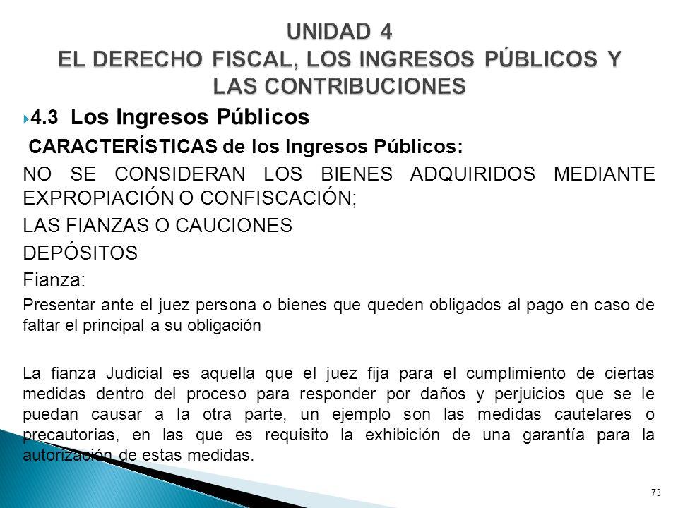 UNIDAD 4 EL DERECHO FISCAL, LOS INGRESOS PÚBLICOS Y LAS CONTRIBUCIONES