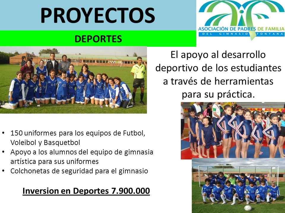 PROYECTOS DEPORTES. El apoyo al desarrollo deportivo de los estudiantes a través de herramientas para su práctica.