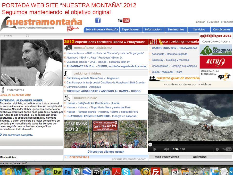 PORTADA WEB SITE NUESTRA MONTAÑA 2012