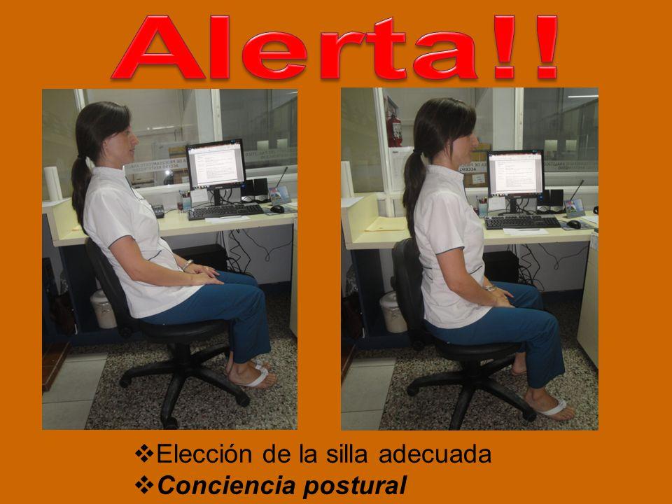 Alerta!! Elección de la silla adecuada Conciencia postural