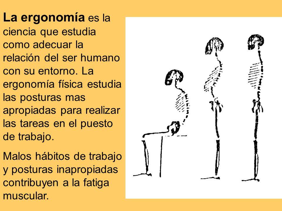 La ergonomía es la ciencia que estudia como adecuar la relación del ser humano con su entorno. La ergonomía física estudia las posturas mas apropiadas para realizar las tareas en el puesto de trabajo.