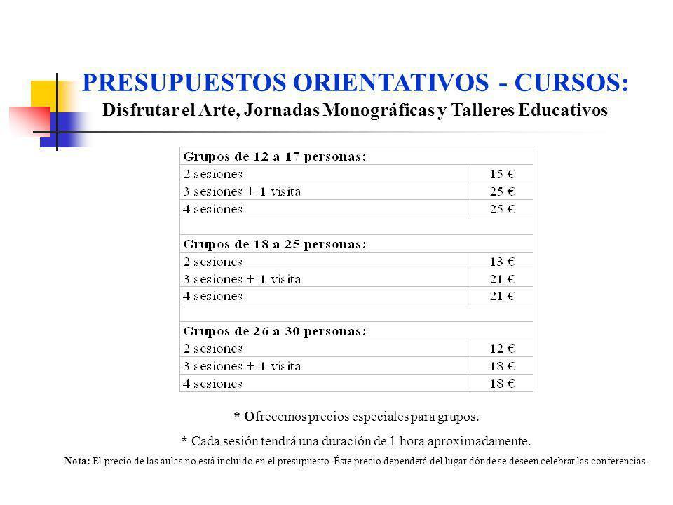 PRESUPUESTOS ORIENTATIVOS - CURSOS: