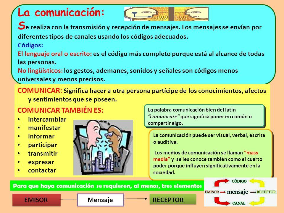 La comunicación: Se realiza con la transmisión y recepción de mensajes