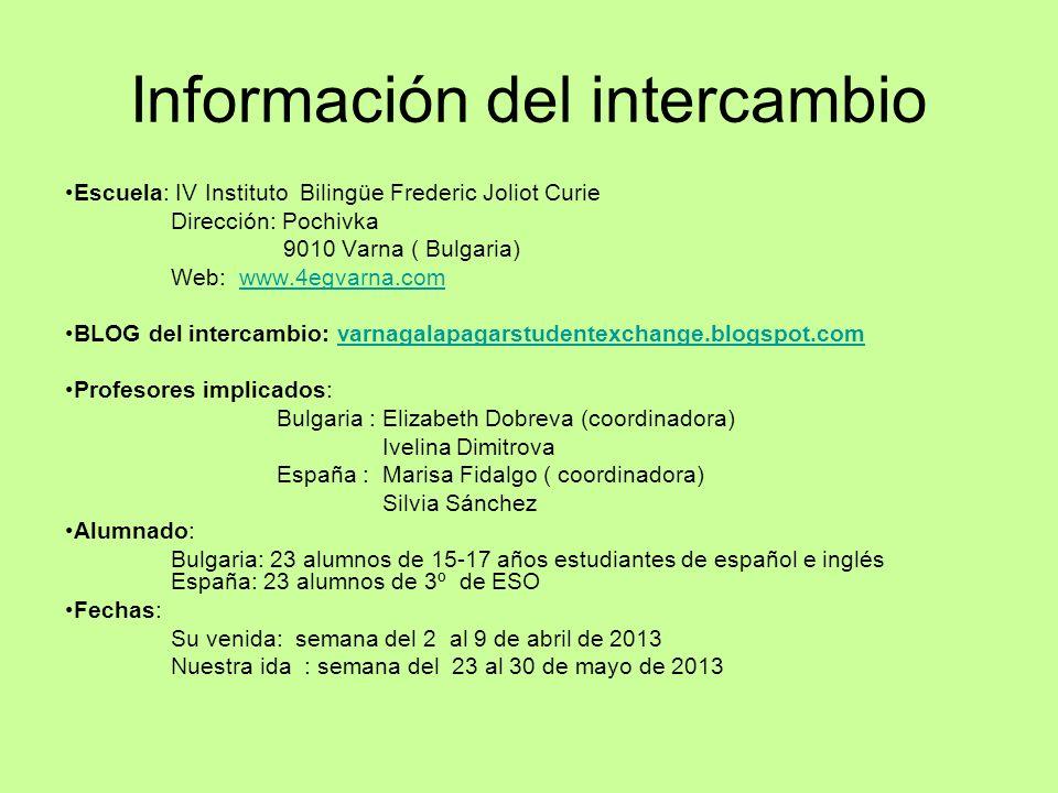 Información del intercambio