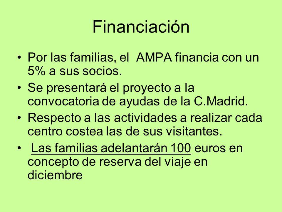 Financiación Por las familias, el AMPA financia con un 5% a sus socios. Se presentará el proyecto a la convocatoria de ayudas de la C.Madrid.