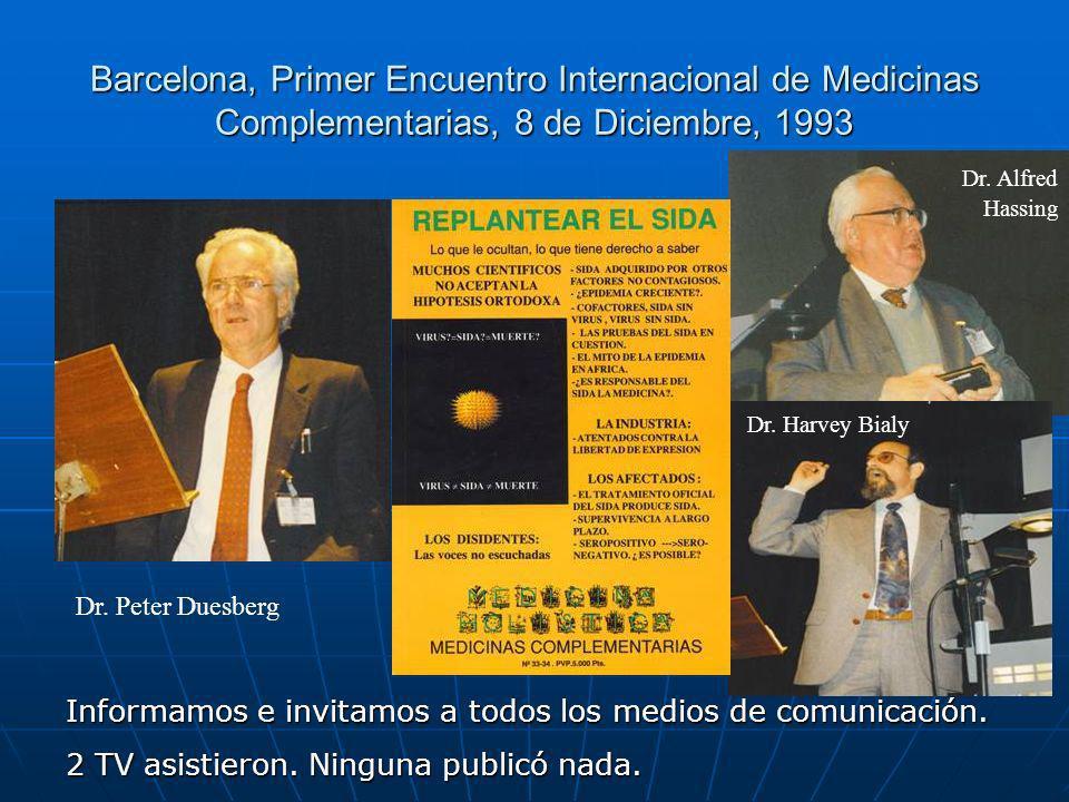 Barcelona, Primer Encuentro Internacional de Medicinas Complementarias, 8 de Diciembre, 1993