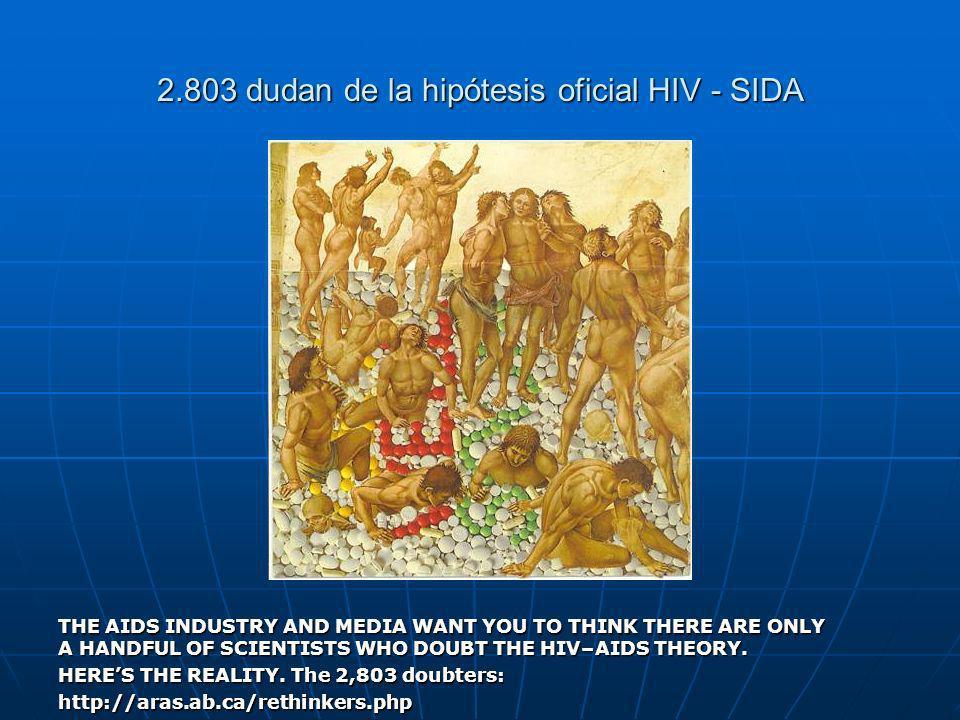 2.803 dudan de la hipótesis oficial HIV - SIDA