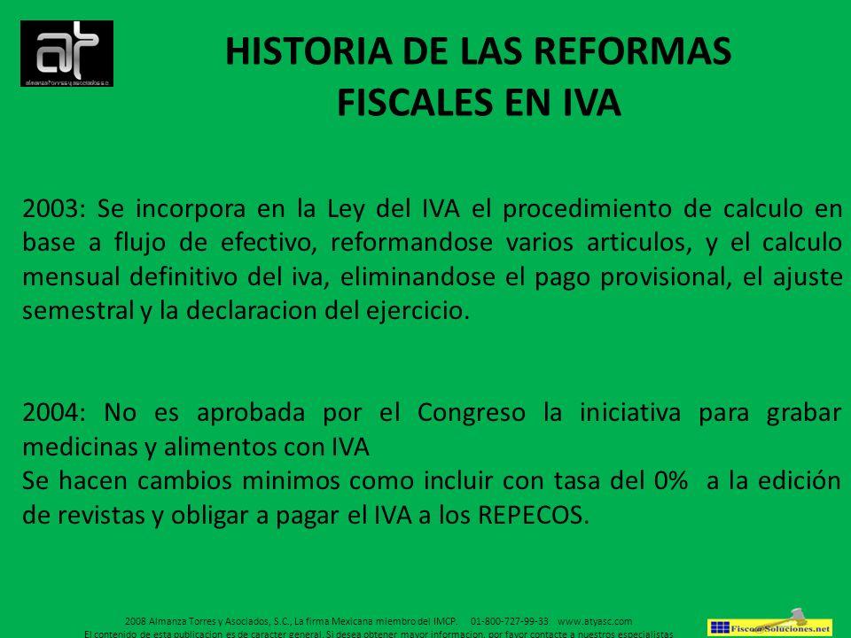 HISTORIA DE LAS REFORMAS FISCALES EN IVA