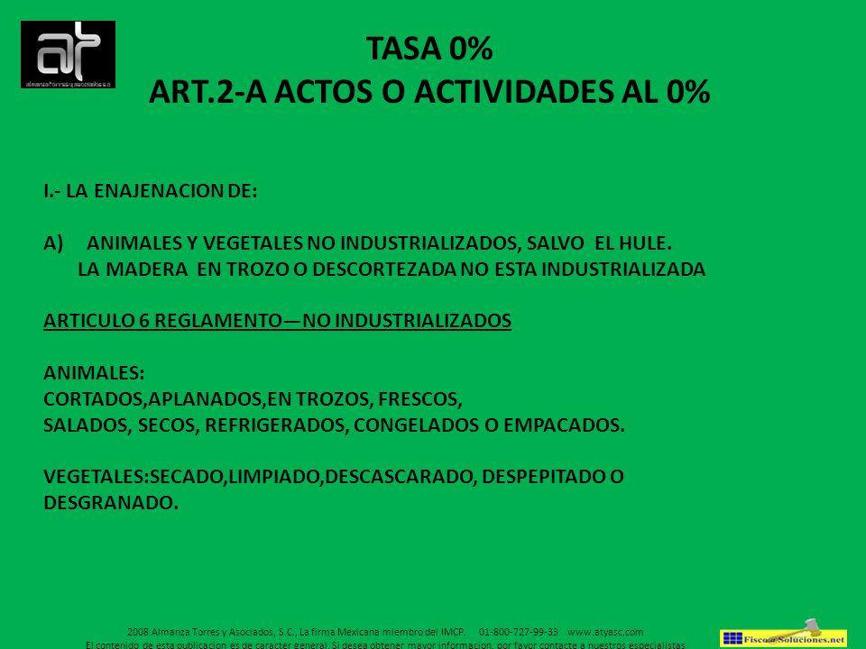 ART.2-A ACTOS O ACTIVIDADES AL 0%