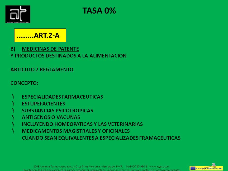 TASA 0% ……...ART.2-A MEDICINAS DE PATENTE