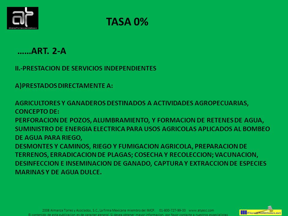 TASA 0% ……ART. 2-A II.-PRESTACION DE SERVICIOS INDEPENDIENTES
