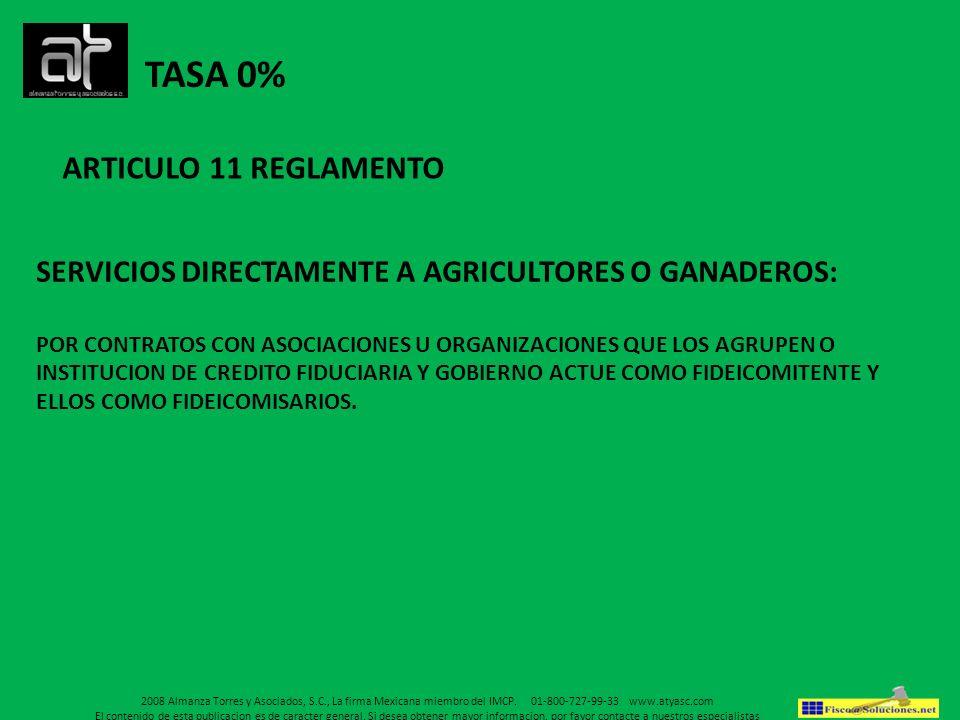 TASA 0% ARTICULO 11 REGLAMENTO