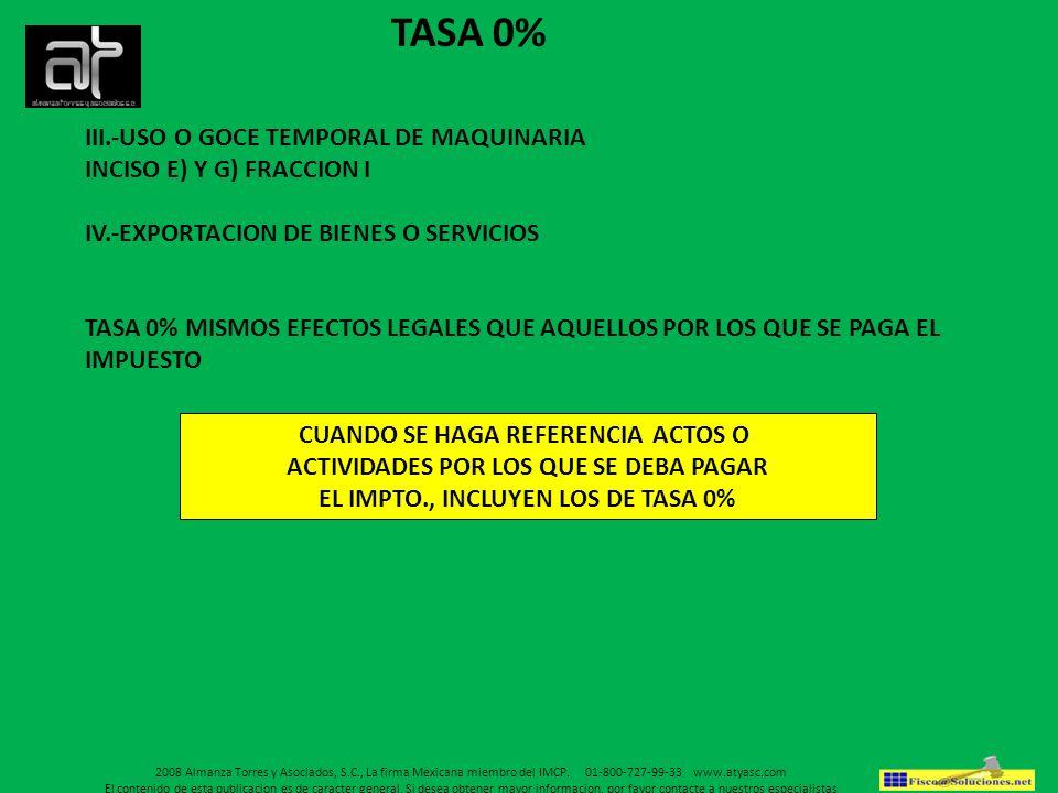 TASA 0% III.-USO O GOCE TEMPORAL DE MAQUINARIA