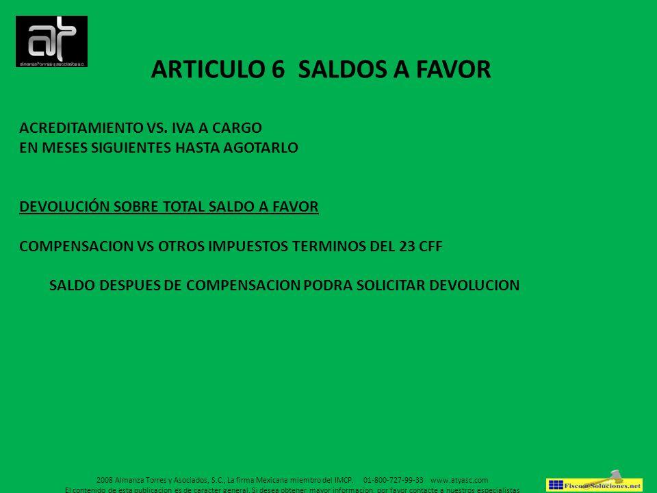 ARTICULO 6 SALDOS A FAVOR