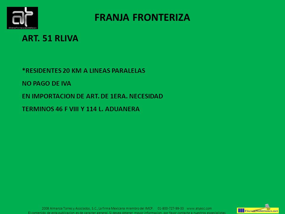 FRANJA FRONTERIZA ART. 51 RLIVA *RESIDENTES 20 KM A LINEAS PARALELAS