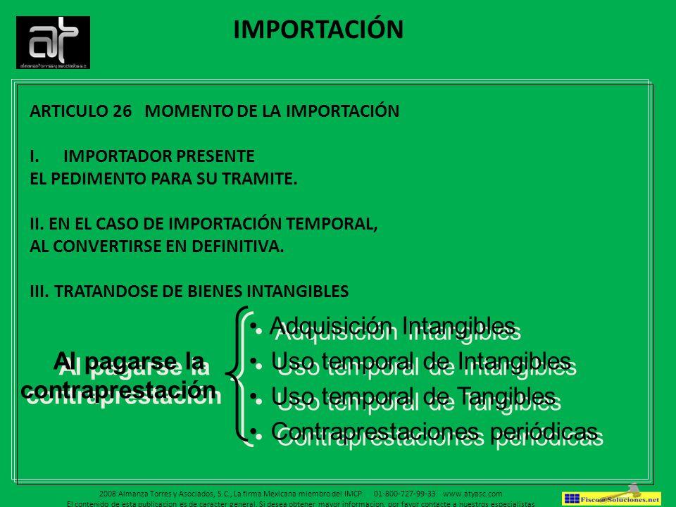 IMPORTACIÓN Adquisición Intangibles Uso temporal de Intangibles