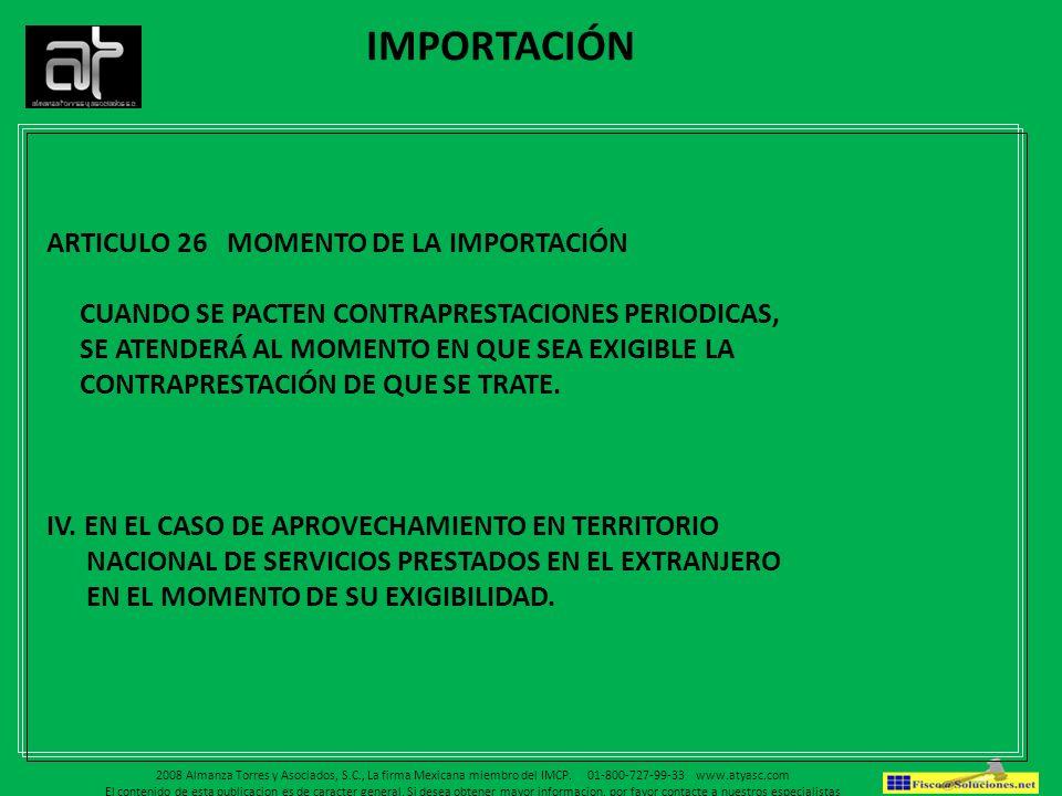 IMPORTACIÓN ARTICULO 26 MOMENTO DE LA IMPORTACIÓN