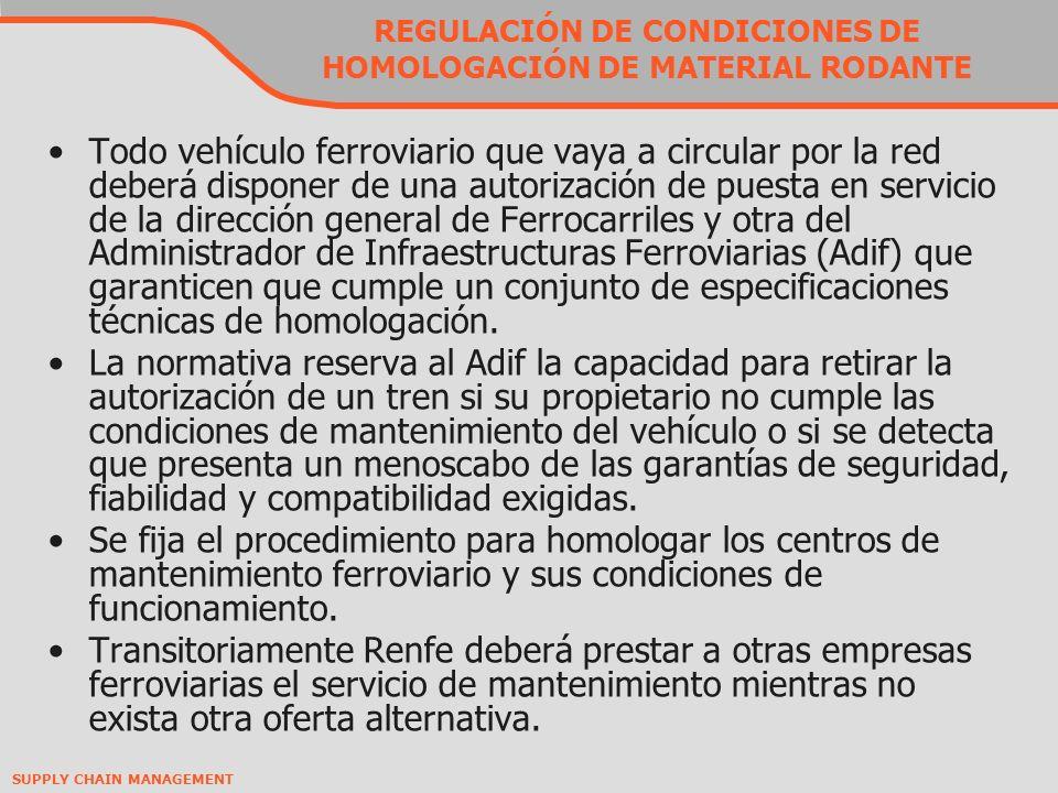 REGULACIÓN DE CONDICIONES DE HOMOLOGACIÓN DE MATERIAL RODANTE