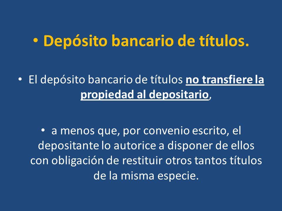 Depósito bancario de títulos.