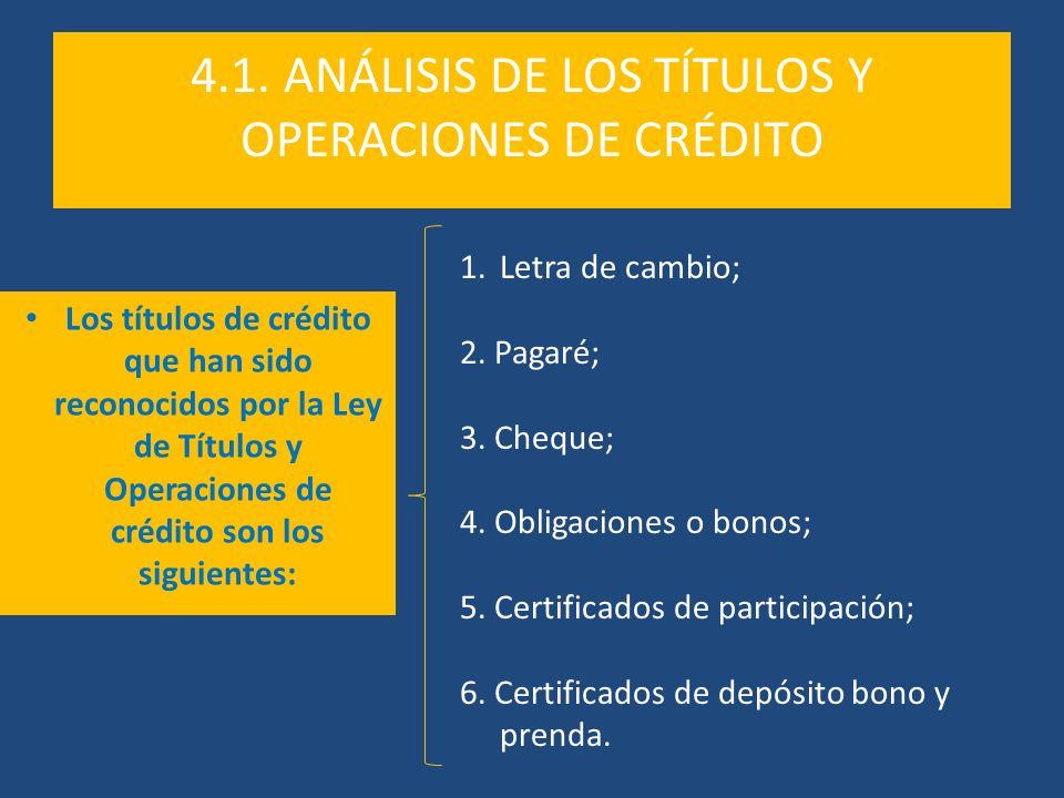 4.1. ANÁLISIS DE LOS TÍTULOS Y OPERACIONES DE CRÉDITO
