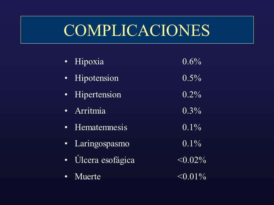 COMPLICACIONES Hipoxia Hipotension Hipertension Arritmia Hematemnesis