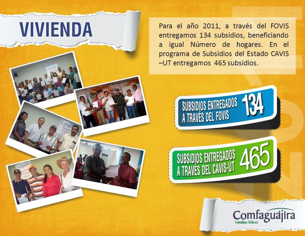 Para el año 2011, a través del FOVIS entregamos 134 subsidios, beneficiando a igual Número de hogares.