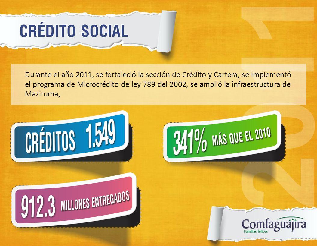 Durante el año 2011, se fortaleció la sección de Crédito y Cartera, se implementó el programa de Microcrédito de ley 789 del 2002, se amplió la infraestructura de Maziruma,
