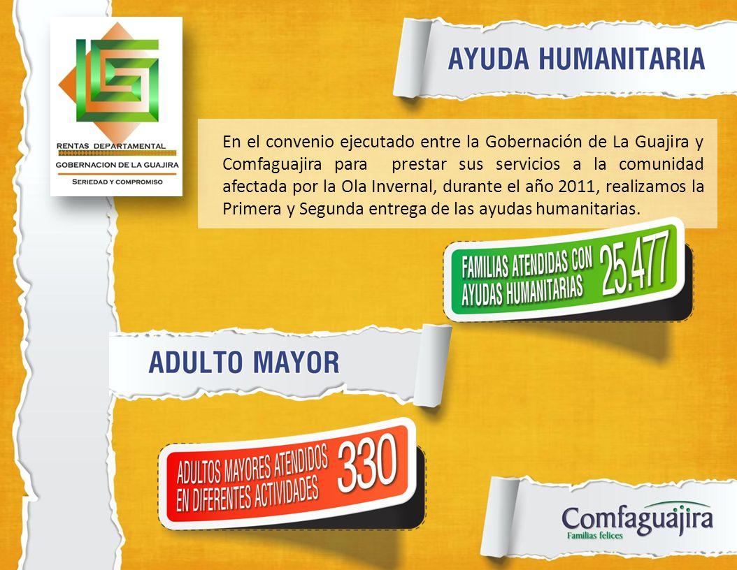 En el convenio ejecutado entre la Gobernación de La Guajira y Comfaguajira para prestar sus servicios a la comunidad afectada por la Ola Invernal, durante el año 2011, realizamos la Primera y Segunda entrega de las ayudas humanitarias.