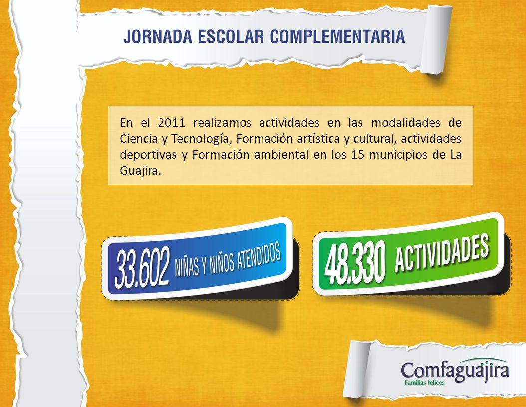 En el 2011 realizamos actividades en las modalidades de Ciencia y Tecnología, Formación artística y cultural, actividades deportivas y Formación ambiental en los 15 municipios de La Guajira.