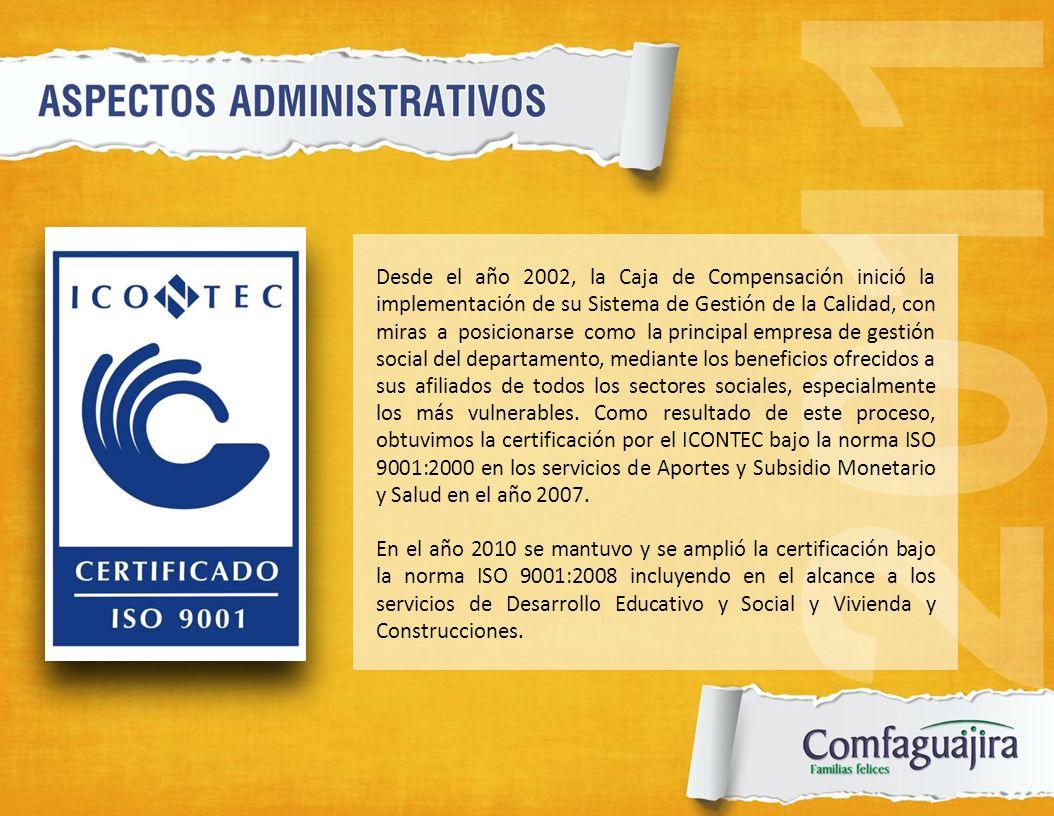 Desde el año 2002, la Caja de Compensación inició la implementación de su Sistema de Gestión de la Calidad, con miras a posicionarse como la principal empresa de gestión social del departamento, mediante los beneficios ofrecidos a sus afiliados de todos los sectores sociales, especialmente los más vulnerables. Como resultado de este proceso, obtuvimos la certificación por el ICONTEC bajo la norma ISO 9001:2000 en los servicios de Aportes y Subsidio Monetario y Salud en el año 2007.