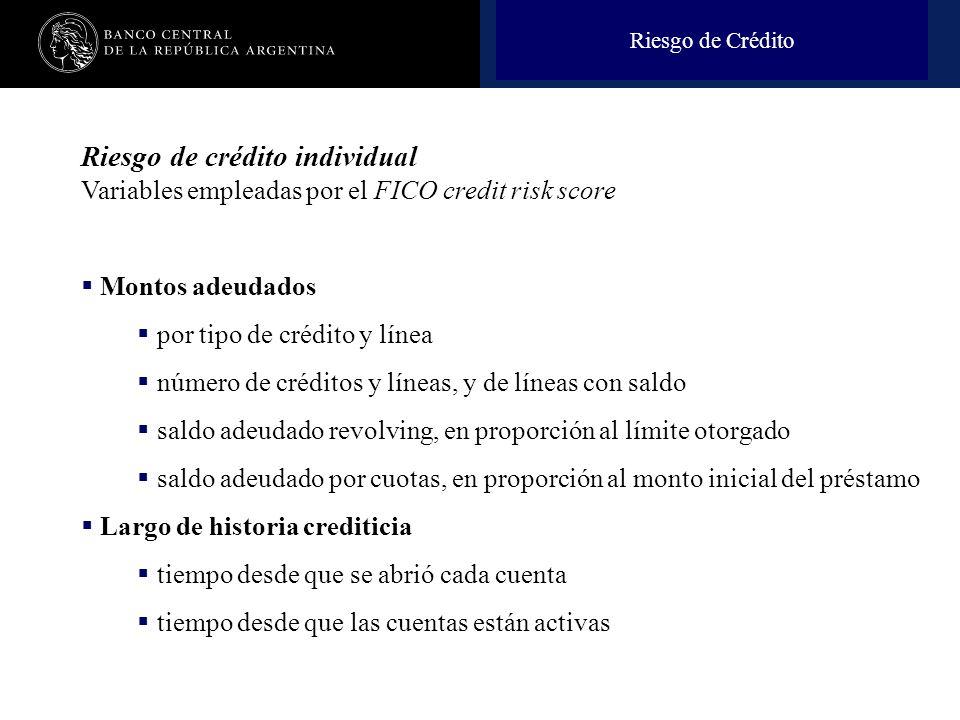 Riesgo de Crédito Riesgo de crédito individual Variables empleadas por el FICO credit risk score. Montos adeudados.