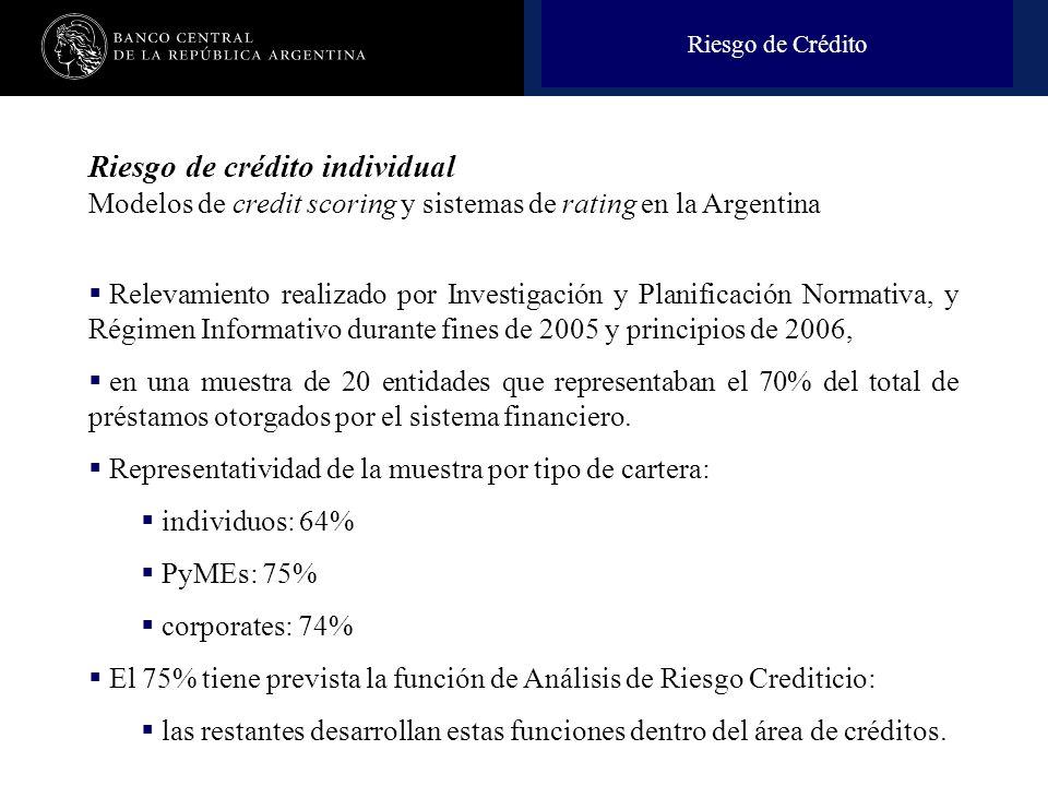 Riesgo de Crédito Riesgo de crédito individual Modelos de credit scoring y sistemas de rating en la Argentina.