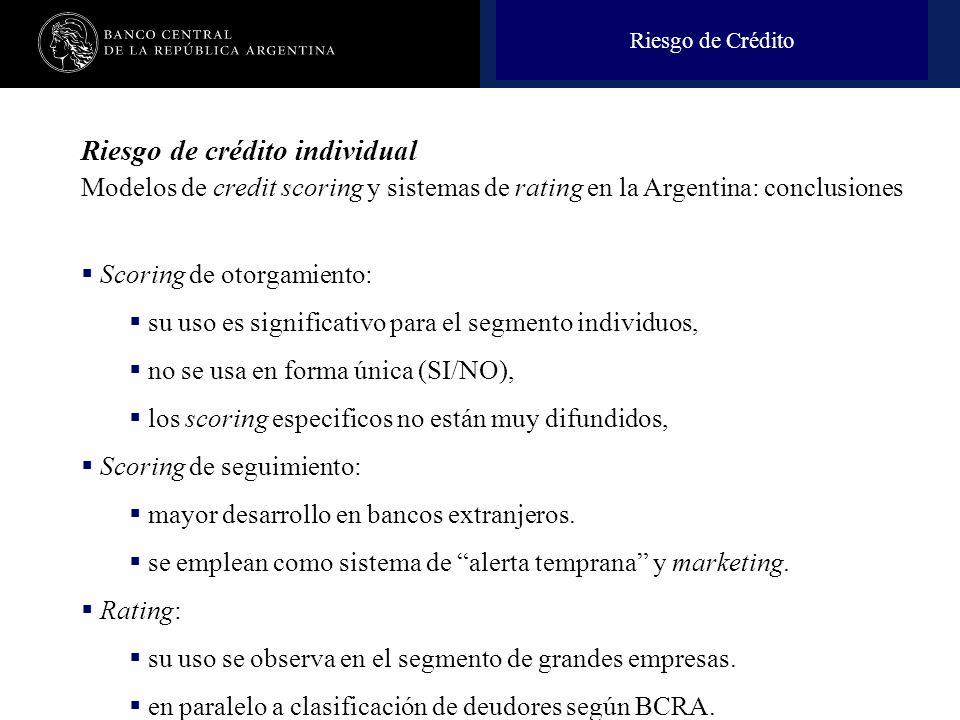 Riesgo de Crédito Riesgo de crédito individual Modelos de credit scoring y sistemas de rating en la Argentina: conclusiones.