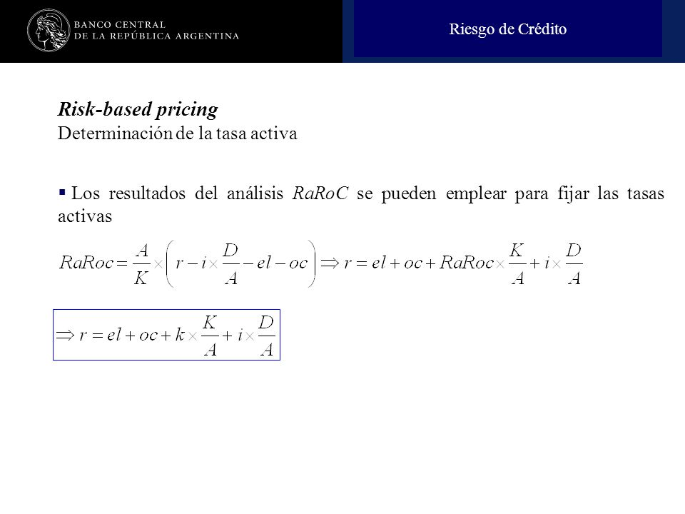 Risk-based pricing Determinación de la tasa activa