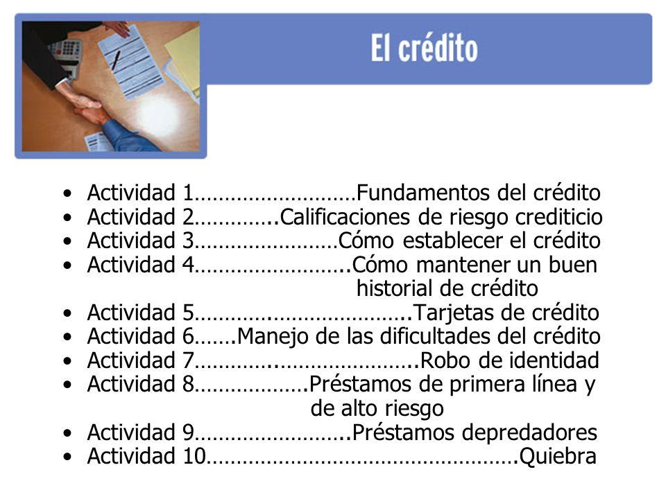 Actividad 1………………………Fundamentos del crédito