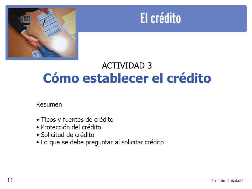 Cómo establecer el crédito