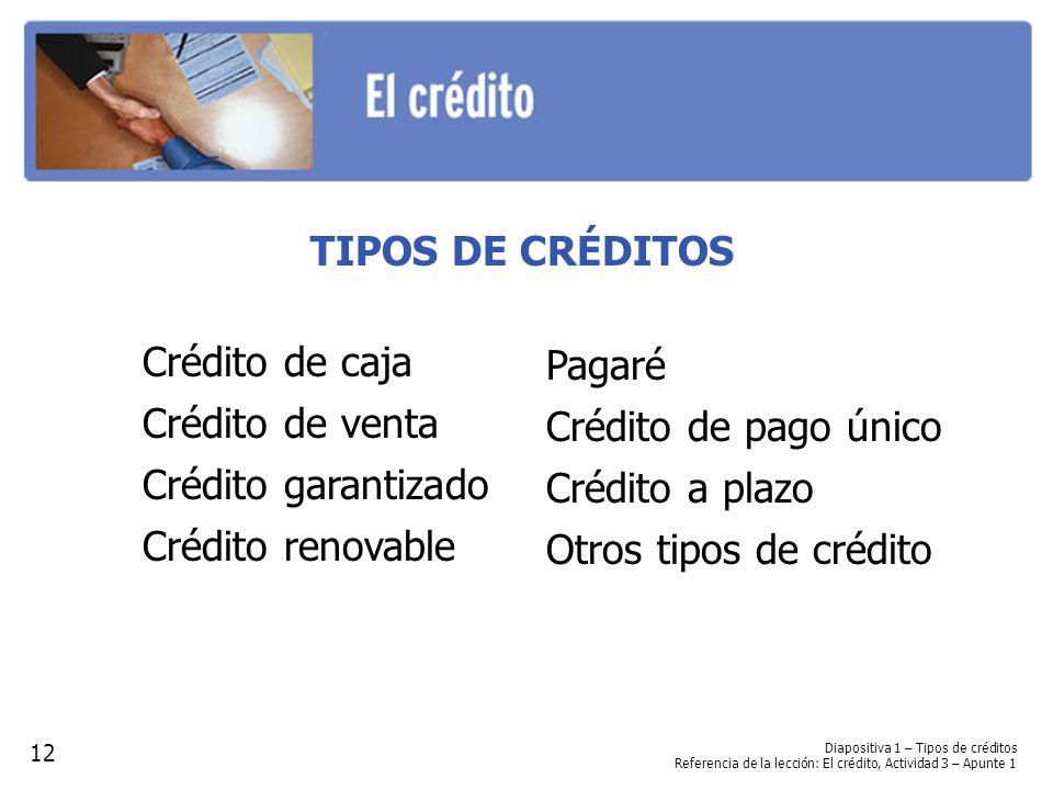 TIPOS DE CRÉDITOS Crédito de caja Crédito de venta Crédito garantizado