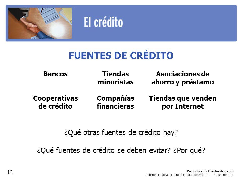 FUENTES DE CRÉDITO ¿Qué otras fuentes de crédito hay