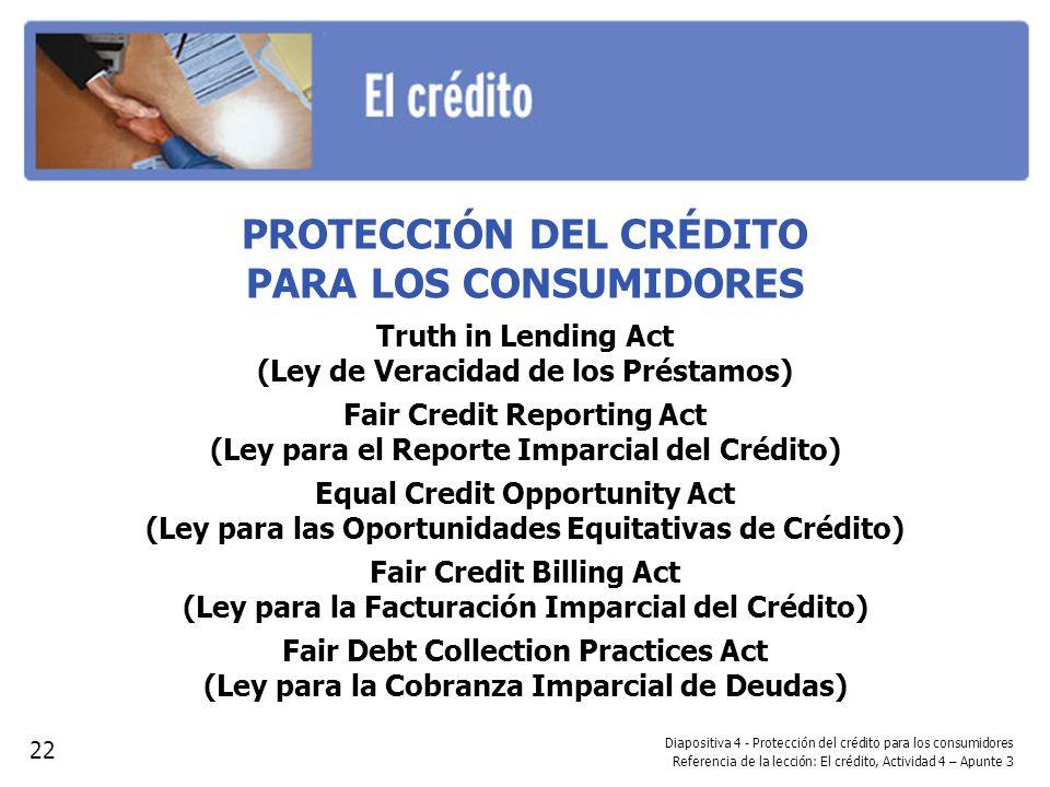 PROTECCIÓN DEL CRÉDITO PARA LOS CONSUMIDORES