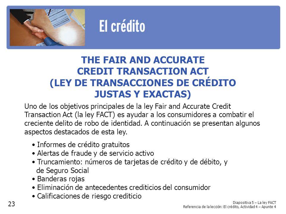 CREDIT TRANSACTION ACT (LEY DE TRANSACCIONES DE CRÉDITO