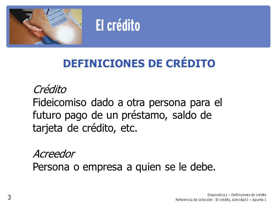 DEFINICIONES DE CRÉDITO