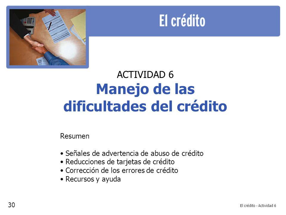 Manejo de las dificultades del crédito