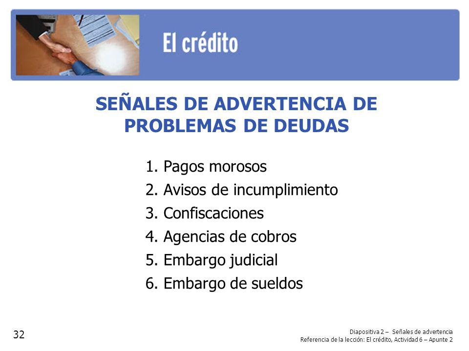 SEÑALES DE ADVERTENCIA DE PROBLEMAS DE DEUDAS